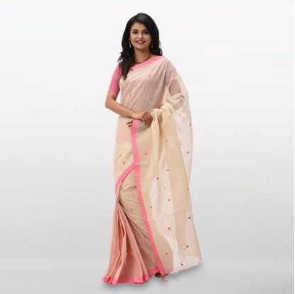 Picture of  Flora White and Pink Cotton Casual Saree