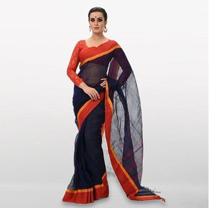 Picture of Navy Blue and Red Cotton Casual Saree
