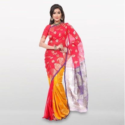 Picture of  Red and Yellow Cotton Saree For Women