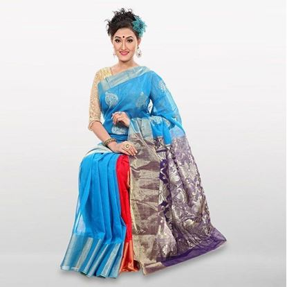 Picture of  Deep Sky Blue Cotton Casual Saree