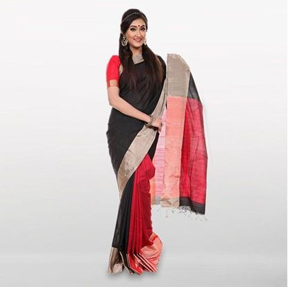 Picture of Black and Red Cotton Casual Saree