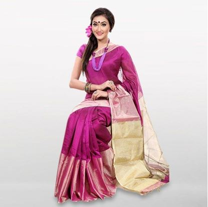 Picture of  Purple Cotton Casual Saree