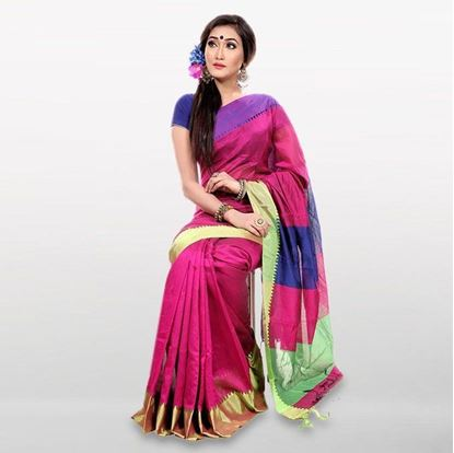 Picture of Megenta and Blue Cotton Casual Saree