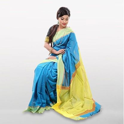 Picture of Blue and Yellow Cotton Casual Saree