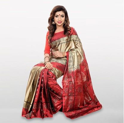 Picture of Maroon and Gold Cotton Casual Saree