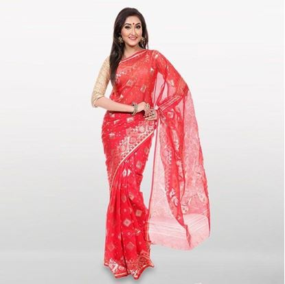 Picture of  Red Cotton Casual Saree