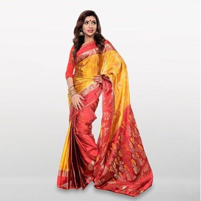 Picture of  Yellow and Red Cotton Casual Saree