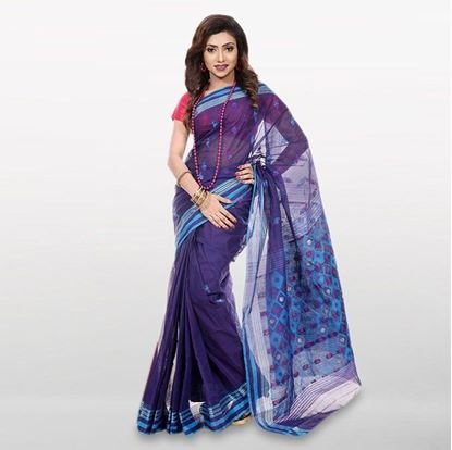 Picture of Navy Blue Cotton Casual Saree