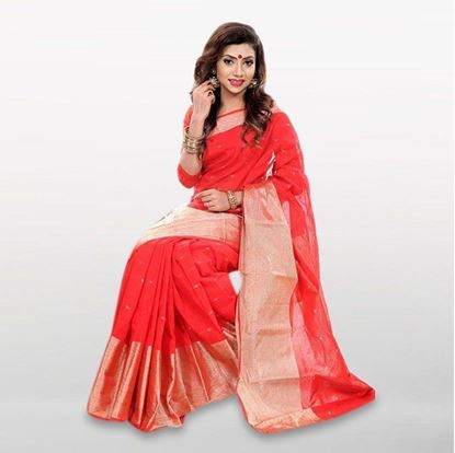 Picture of  Red Cotton Casual Saree For Women
