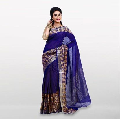 Picture of  Navy Blue and Gold Cotton Casual Saree