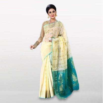 Picture of  Cream and Teal Cotton Casual Saree