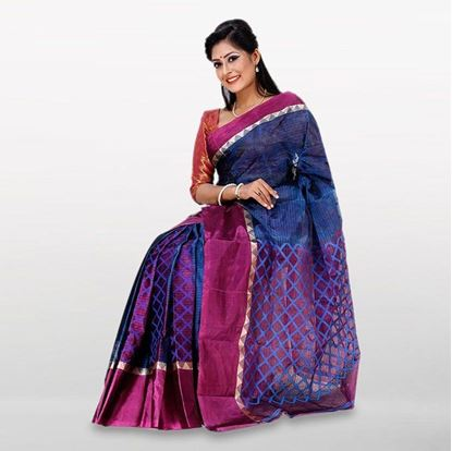 Picture of Navy Blue and Purple Cotton Casual Saree