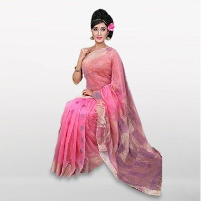 Picture of Pink Cotton Casual Saree For Women