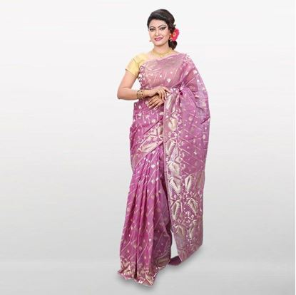 Picture of  Light Violet Cotton Casual Saree
