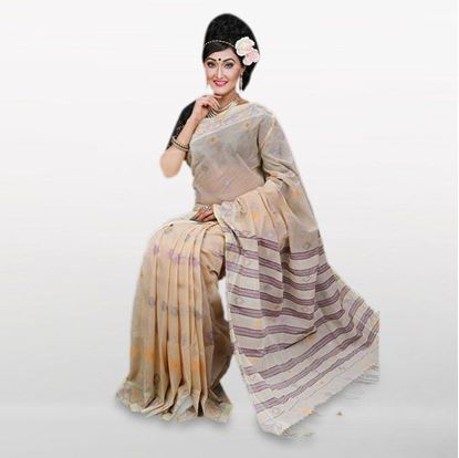 Picture of Cream Cotton Casual Saree For Women