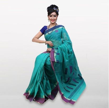 Picture of Sky Blue Cotton Casual Saree For Women