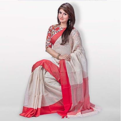 Picture of Wheat and Red Musline Cotton Casual Sharee