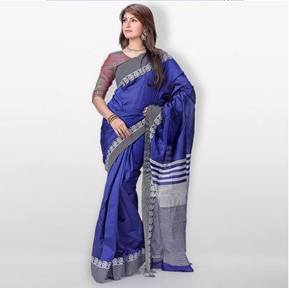 Picture of Blue and Gray Ora Silk Casual Sharee