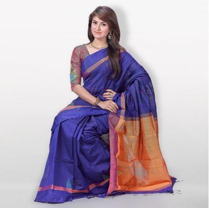 Picture of  Blue and Orange Monipuri Tossor Silk