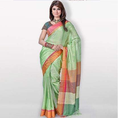 Picture of Light Green Toshor Silk Casual Sharee