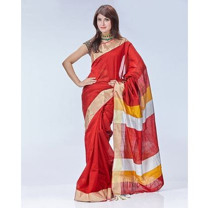 Picture of Tosor Silk Casual Sharee - Maroon