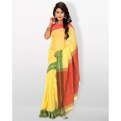 Picture of Tosor Silk Casual Sharee - Light Yellow