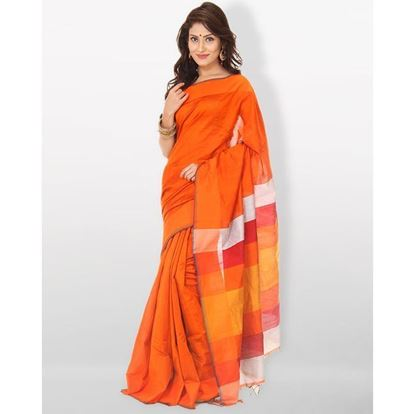 Picture of  Tosor Silk Casual Sharee - Orange