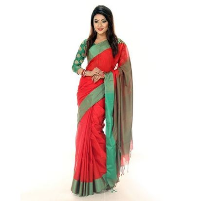 Picture of Tosor Silk Casual Sharee - Red