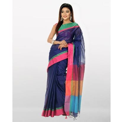 Picture of  Tosor Silk Casual Sharee - Navy Blue