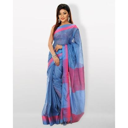 Picture of Tosor Silk Casual Sharee - Sky Blue