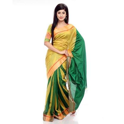Picture of Silk Sharee - Golden Yellow and Green