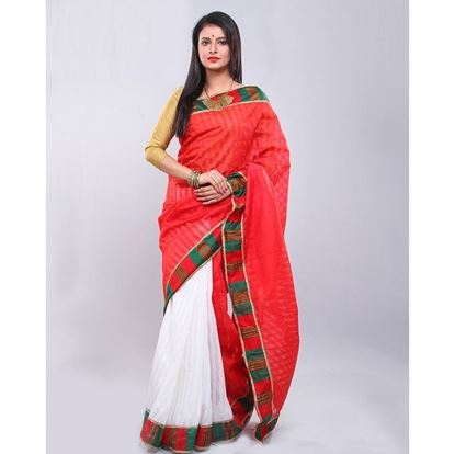 Picture of  Cotton Sharee - Tomato Red and White