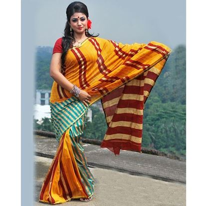 Picture of  Silk Casual Sharee - Orange and Deep Silk