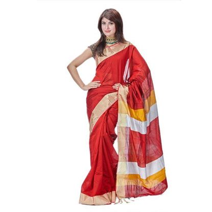 Picture of Maroon Cotton Saree for Women