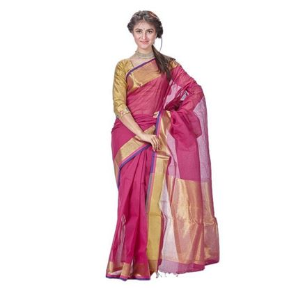 Picture of Purple Cotton Saree for Women