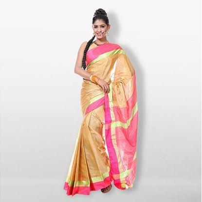 Picture of  Golden Tashar Silk Saree For Women