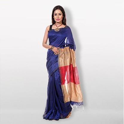 Picture of Navy Blue Silk & Cotton Saree For Women