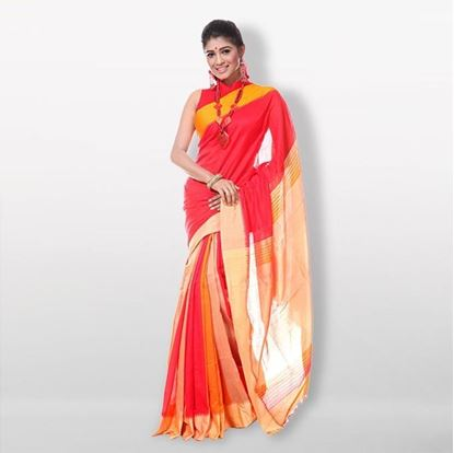 Picture of  Multicolor Silk & Cotton Saree For Women