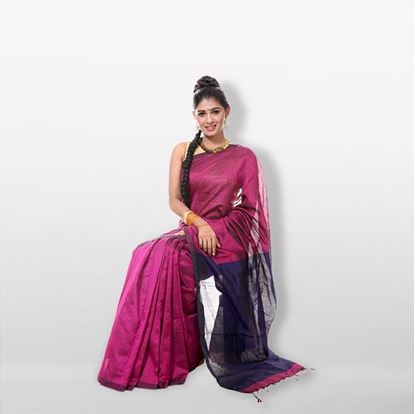 Picture of  Magenta Silk Cotton Saree For Women