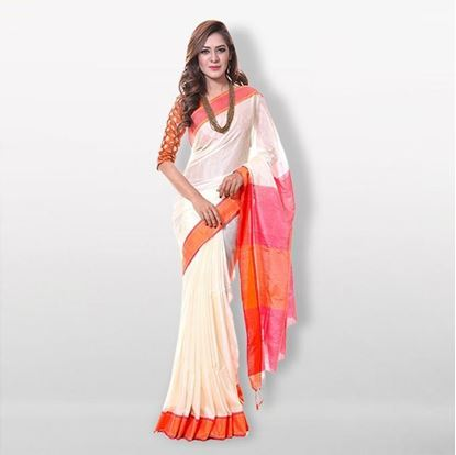 Picture of  White and Red Cotton & Silk Saree