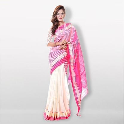 Picture of  White and Pink Cotton & Silk Saree