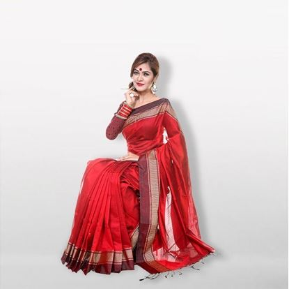 Picture of  Red Cotton & Silk Saree For Women