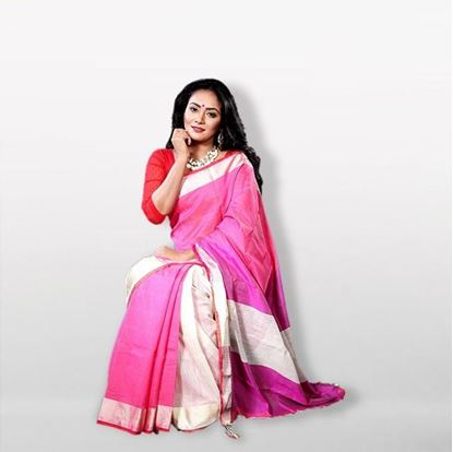 Picture of  Pink and White Silk & Cotton Saree