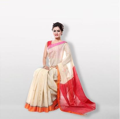 Picture of Red and White Andi Silk Saree For Women