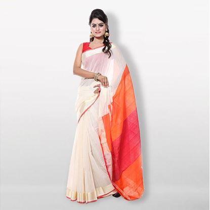 Picture of  White and Orange Silk & Cotton Saree