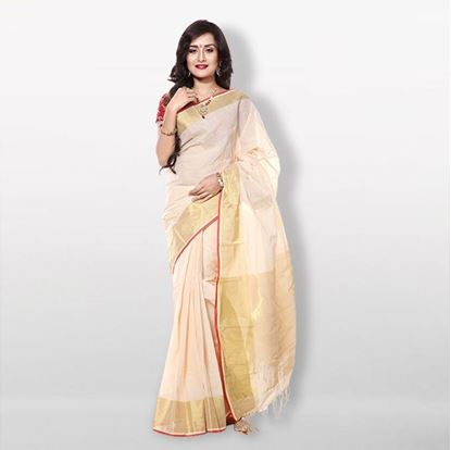 Picture of  Off-White Cotton Jari Par Saree For Women