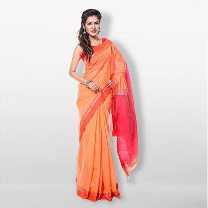 Picture of  Orange Silk & Cotton Saree For Women