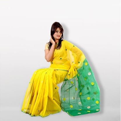 Picture of Yellow and Green Half Silk Saree