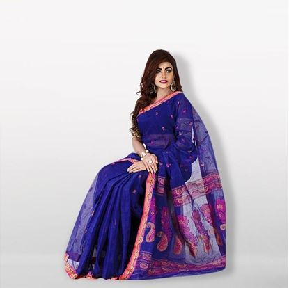 Picture of Blue Cotton Saree For Women