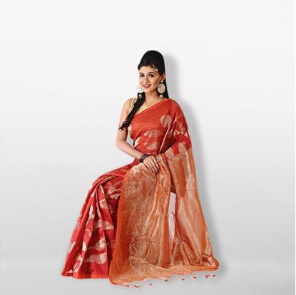 Picture of Red and Golden Half Silk (Handwork) Saree